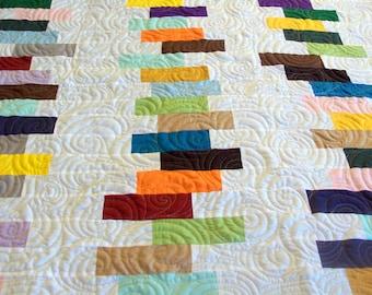 "Stacks Quilt, Modern Quilt, Stacks of Books Quilt, Handmade Quilt, Homemade Quilt, 58"" x 68"" (147cm x 172cm)"