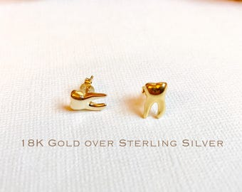 Gold over sterling silver, teeth stud earrings, Dental earrings, Molar earrings, dental gifts, dentist gift, tooth earrings, dental jewelry.
