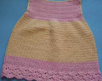 Crocheted handmade child dress, pink and yellow, ready to ship