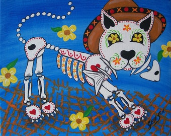 """Day Of The Dead """"El Gato"""" Cat Kitty Art Print Poster Various Sizes Available Mexican Folk Artist J Ellison"""