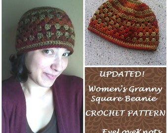 CROCHET PATTERN - Women's Granny Square Beanie, Granny Square Hat Pattern, Crochet Granny Square Hat Pattern, Crochet Hat Pattern, Instant