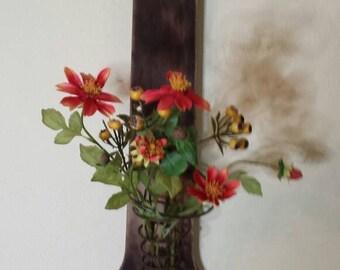 Primitive Wood Wall Decor Bed Spring Vase, Primitive Wood w/ Bed Spring Vase Holder,Reclaimed Wood Wall Hanging, Flower Vase Wood Wall Art