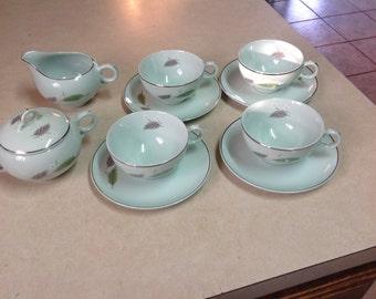 10 piece set of Universal  Ballerina Mist leaf design china tea cup saucers creamer sugar