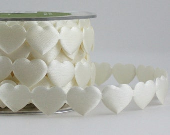 Ivory Satin Heart Trim, Heart Ribbon by the yard, Weddings, Heart Trim, Sewing, Baby Headbands, Gift Wrapping, Scrapbooking, Party Supplies