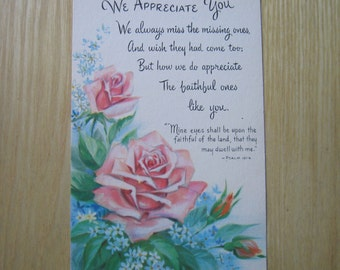 Vintage Postcard, Appreciation, Roses, Paper Ephemera, Collectible, Old Print, Warner Press, Christian, Psalm, Scrapbooking, Postcard, Bible
