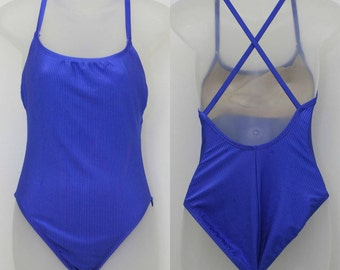 "90's Vintage ""TRUE BLUE"" 1-Piece Open-Back Swimsuit Sz: 8/10 (Never Worn)"