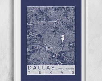 Downtown dallas etsy dallas city map print poster blueprint plans dallas texas custom city map art prints custom map malvernweather Gallery