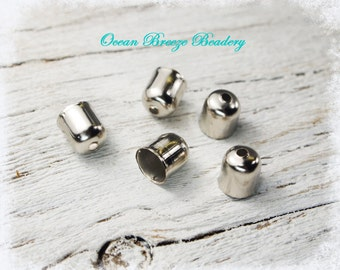 Cord End Bead Cap . 24 for you . 7mm . Great for Kumihimo, Leather, Macrame, Chain, Tassels . Silver Tone