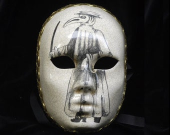 Masquerade Mask with Plague's Doctor White/Black Handmade Pencil Sketch - Full Face Venetian Mask - Volto Mask Pencil illustration - M28