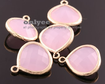 2pcs-18mmX15mmLarge Gold plated Brass Faceted Tear Drop With Glass pendants-Ice Pink(M363G-B)
