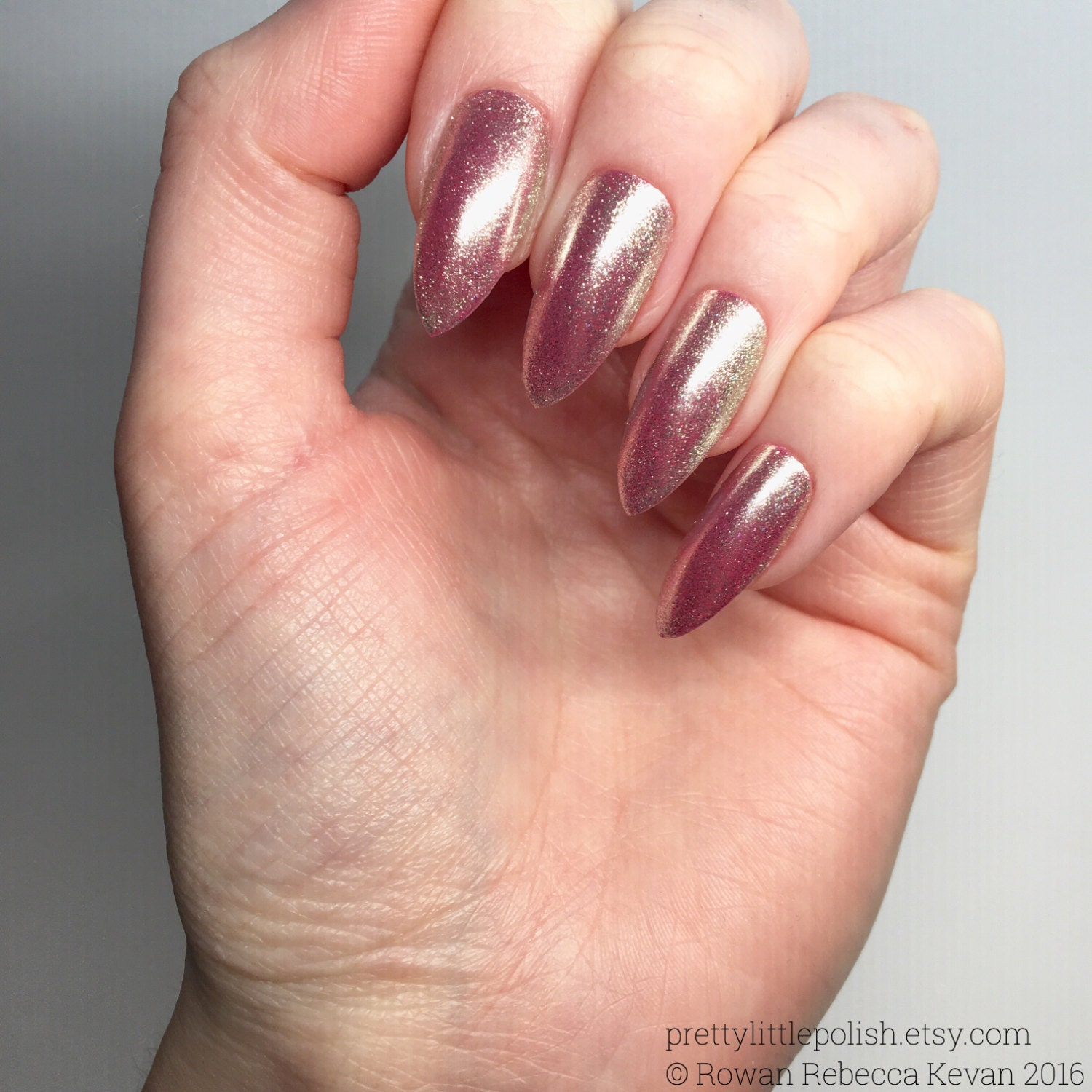 Pink chrome nails Luxury nails Chrome stiletto nails Fake