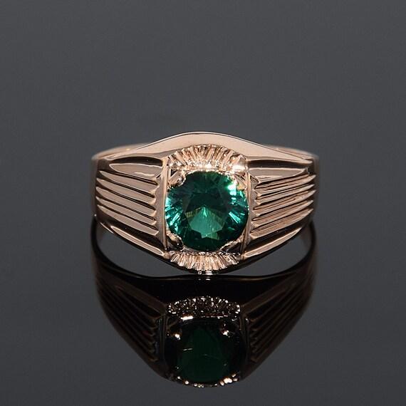 Emerald Rings For Men Signet ring Eme...