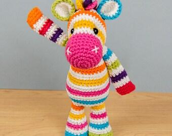 Rainbow Zebra Amigurumi - PDF Crochet Pattern - Instant Download - Doll crochet rainbow Cuddy Stuff Plush