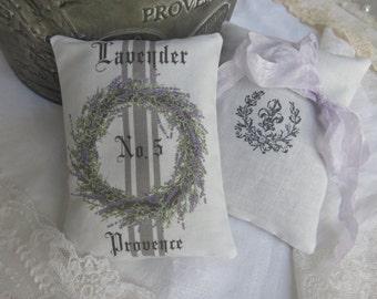 25 French Grainsack Lavender Wreath Sachets - Vintage style Paris Rustic Farmhouse wedding guest favors bridal baby shower