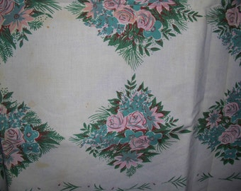 """Vintage 1950s Cotton Tablecloth~52"""" x 62""""~Pink Roses~Blue Flowers~Cutter"""