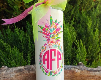 Pineapple Skinny Tumbler- Lilly Inspired Personalized Name/Monogram-20oz Stainless Steel Vacuum Sealed-Beach,Gift,Coffee cup,Glitter