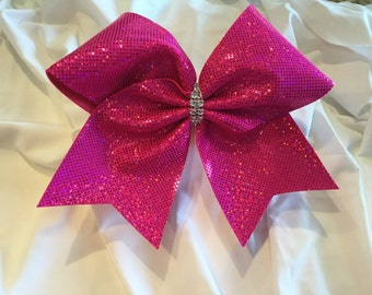 Hot Pink Holographic Cheer Bow