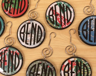 Bend Oregon - Holiday Ornament - Made with Vintage gift wrap - by Via Delia