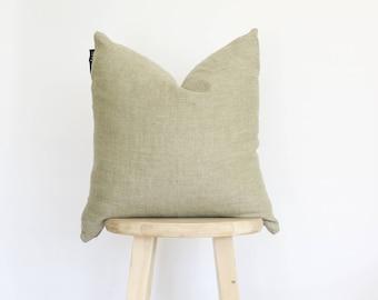 Organic 100% Linen Pillow Cover, Olive green, boho, linen pillow, Lithuania linen, gift for her, 18 x 18