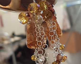 Sterling silver stone earrings Handmade gemstone earrings 925 silver earrings Natural stones earrings Sandy brown earrings Unique earrings