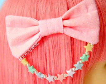 Fairy Kei Hair Bows Pastel Pink Sweet Lolita Hair Accessories For Girls Teens Women Plastic Pastel Stars White Glass Pearls
