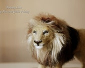 Needle felting lion, Barbary felted lion extinct animal, Feline decor OOAK handmade animal