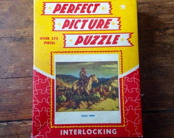 1940s Perfect Picture Puzzle, 375 pieces Jigsaw Puzzle: Trail Herd. No 250-29. Consolidated Paper Box Company