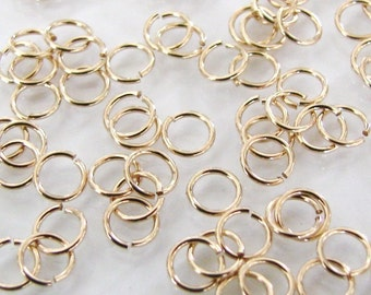 100pcs 14K Gold Filled 4mm Open Jump Rings 22ga, Made in USA, GF8