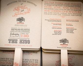 Wedding Program Fan, Wedding Fan, Order of Service Fan, Wedding Program Fans, Kraft Paper Wedding Program