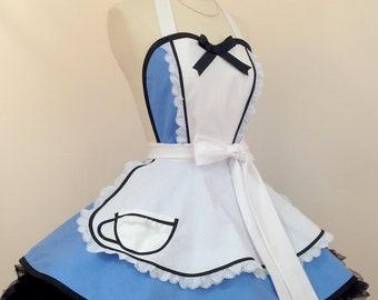 Retro Apron - Alice In Wonderland Pin Up Costume Apron, Wonderland Cosplay Apron, Woman's Apron, Kitchen and Hostess Apron