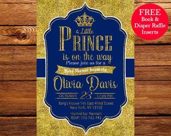 Prince Baby Shower Invitation, Royal Blue Gold Baby Shower Invitation,Crown Gold Glitter, Little Prince,Printable Baby Shower Invitation 089
