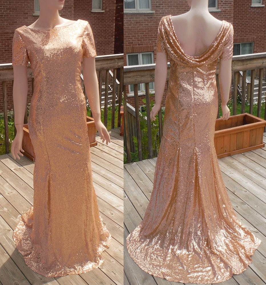 Cowl back dress rose gold sequin bridesmaid dress rose gold zoom ombrellifo Images