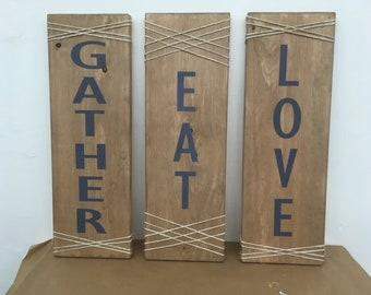 Wood Sign/Gather Eat Love/Decor/Wedding/Gift/Reception/Wash Soak Relax