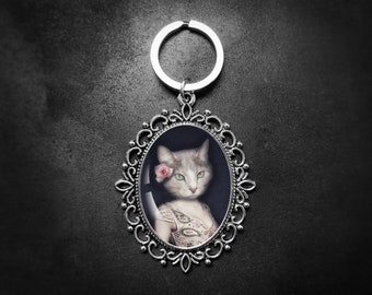 Cat Keychain, Cat Lover Gift, Vet Gifts, Quirky Gifts, Cat Art Keyring, Funky Gifts, Gift For Her, Mothers Day Gift, Cool Gifts, Small Gifts
