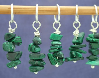 Malachite Knitting or Crochet Stitch Marker Set, Semi-Precious stone, Knitting Tools, Gift for Knitters, Crochet Tools, Gift for Crocheters