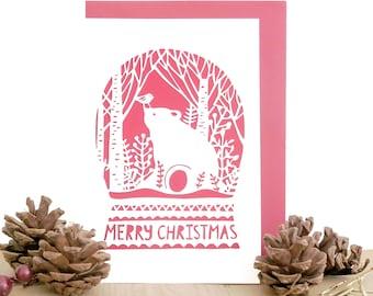 Bear Christmas card, Winter bear card, Merry Christmas card, Cute Christmas card, Unique Christmas card, Bear card, Holiday cards