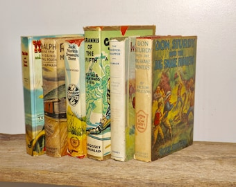 Old books,teen books,childrens books,youth books,vintage books,young readers,set of 6,dust jackets,early 1900s,teen fiction,old book decor
