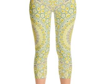 Capri Yoga Pants for Women, Unique Mandala Print Pants, Mid Rise Yellow and Green Printed Art Leggings, Yellow and Gray Yoga Leggings Pants