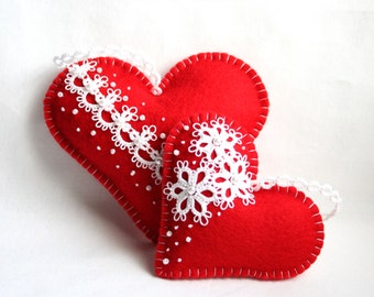 Hearts Red White Felt Tatting Lace Lavender Sachets