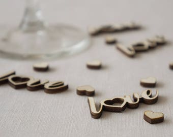Wedding table confetti. Rustic boho wooden laser cut 'love' text and hearts decorations L69