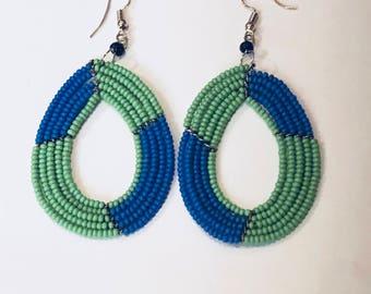 African Tribal Seed Bead Earrings
