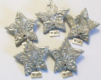Wish on a star brooch, silver polymer clay star lapel pin