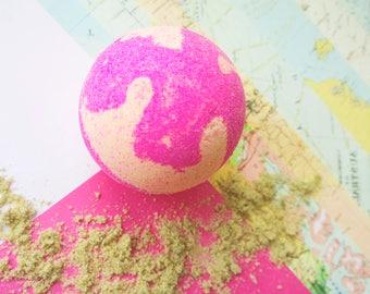 Pink grapefruit and orange bath bomb, bath ball, bath fizzy, multicoloured bath bomb, moisturising bath bomb, pink and orange bath bomb