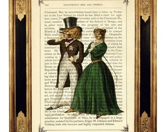 Noble Lion Lioness Art Print Couple Portrait Love Top Hat Poster - Vintage Victorian Book Page Art Print Steampunk