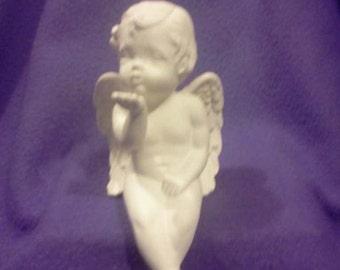 "Scioto 8"" cherub blowing kisses Ceramic Bisque, ready to paint"