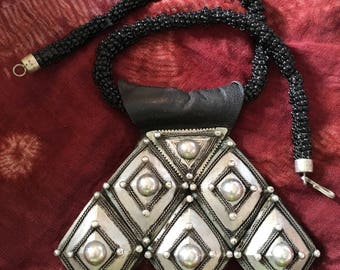 Old Tuareg LARGE Amulet Khomeissa or Khomissar with Filigree details on Leather with Leather Cords, Ihaggaren Tribe, S Algeria