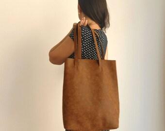 Vegan leather shoulder bag - back to school - Vegan handbag - Water Resistant - Vegan Leather - Rustic Leather - Distressed Leather
