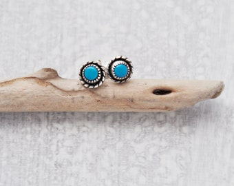 Vintage Turquoise Stud Earrings - 925 sterling silver with gold filled posts - small tiny Southwestern studs
