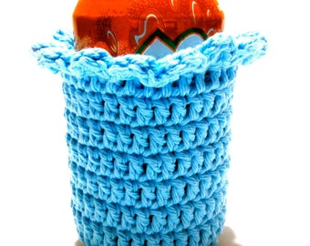 Blue Cupcake Crocheted Can Cover With Ruffle