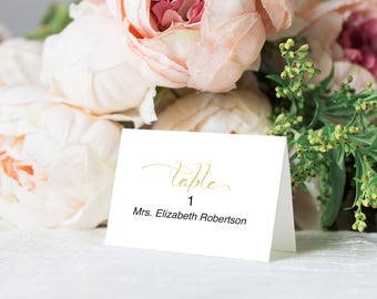 Place Cards Wedding,  Gold Place Cards Printable, Place Cards for Wedding, Reception, Place Card Template, PDF Instant Download 110G